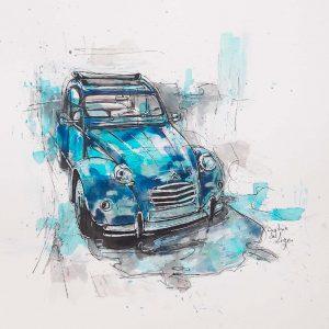 la-2cv-bleue---encre-sur-papier-30x30